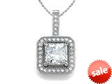 Zoe R™ 925 Sterling Silver Micro Pave Hand Set Cubic Zirconia (CZ) Square Pendant with 18 Inch style: BM30293