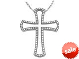 Zoe R™ Sterling Silver Micro Pave Hand Set Cubic Zirconia (CZ) Large Cross Pendant style: BM30387