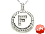 "Zoe R™ Sterling Silver Micro Pave Hand Set Cubic Zirconia (CZ) Letter ""F"" Initial Disc Pendant style: BM30633F"