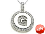 "Zoe R™ Sterling Silver Micro Pave Hand Set Cubic Zirconia (CZ) Letter ""G"" Initial Disc Pendant style: BM30633G"