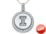 "Zoe R™ Sterling Silver Micro Pave Hand Set Cubic Zirconia (CZ) Letter ""I"" Initial Disc Pendant style: BM30633I"