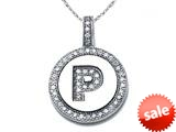 "Zoe R™ Sterling Silver Micro Pave Hand Set Cubic Zirconia (CZ) Letter ""P"" Initial Disc Pendant style: BM30633P"