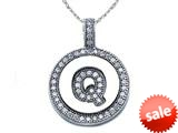 "Zoe R™ Sterling Silver Micro Pave Hand Set Cubic Zirconia (CZ) Letter ""Q"" Initial Disc Pendant style: BM30633Q"