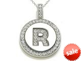 "Zoe R™ Sterling Silver Micro Pave Hand Set Cubic Zirconia (CZ) Letter ""R"" Initial Disc Pendant style: BM30633R"