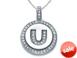 "Zoe R™ Sterling Silver Micro Pave Hand Set Cubic Zirconia (CZ) Letter ""U"" Initial Disc Pendant style: BM30633U"
