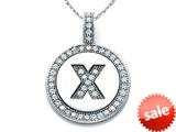 "Zoe R™ Sterling Silver Micro Pave Hand Set Cubic Zirconia (CZ) Letter ""X"" Initial Disc Pendant style: BM30633X"