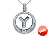 "Zoe R™ Sterling Silver Micro Pave Hand Set Cubic Zirconia (CZ) Letter ""Y"" Initial Disc Pendant style: BM30633Y"