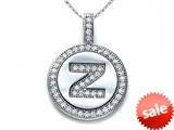 "Zoe R™ Sterling Silver Micro Pave Hand Set Cubic Zirconia (CZ) Letter ""Z"" Initial Disc Pendant style: BM30633Z"