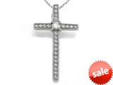 Zoe R™ 925 Sterling Silver Micro Pave Hand Set Cubic Zirconia (CZ) Medium Cross Pendant