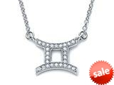 Zoe R™ Sterling Silver Micro Pave Hand Set Cubic Zirconia (CZ) Gemini Zodiac Pendant On 18 Inch Adjustable Chain