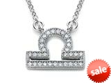 Zoe R™ Sterling Silver Micro Pave Hand Set Cubic Zirconia (CZ) Libra Zodiac Pendant On 18 Inch Adjustable Chain