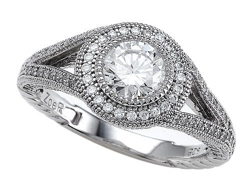 Zoe R(tm) 925 Sterling Silver Micro Pave Hand Set Cubic Zirconia (CZ) Engagement Ring