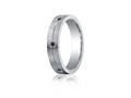 Benchmark® Argentium Silver 5mm Comfort-fit 6-stone Black Diamond Band