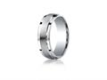 Benchmark Argentium Silver 7mm Comfort-fit Satin-finished Design Band