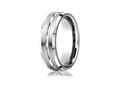Benchmark® Cobalt Chrome™ 7mm Comfort-fit Satin-finished Beveled Edge Design Ring