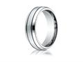Benchmark Cobalt Chrome 7.0mm Comfort-fit Satin-finished Blackened Design Ring
