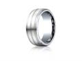 Benchmark® Cobalt Chrome™- Silver 8mm Comfort-fit Satin-finished Parallel Silver Inlay Design Ring