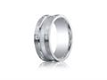 Benchmark® Argentium Silver 9mm Comfort-fit Pave Set 12-stone Diamond Design Band (.24ct)