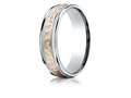 Benchmark® 14k Two-toned 6mm Comfort-fit Hammer Finish Design Band
