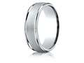 Benchmark® Palladium 7mm Comfort-fit Wired-finished High Polished Round Edge Carved Design Band