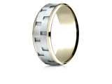 Benchmark® 14k Two-toned 8mm Comfort-fit Bevel Satin Finish Chain Link Design Band style: CF188493
