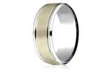 Benchmark® 14k Two-toned 8mm Comfort-fit Drop Bevel Satin Finish Design Band style: CF208010