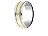 Benchmark® 14k Two-toned 8mm Comfort-fit Drop Bevel Satin Finish Milgrain Design Band style: CF208013S14KWY