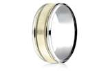 Benchmark® 14k Two-toned 8mm Comfort-fit Drop Bevel Satin Finish Milgrain Design Band style: CF208013S