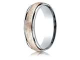 Benchmark® 14k Two-toned 6mm Comfort-fit Swirl Finish Design Band style: CF216070