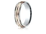 Benchmark® 14k Two-toned 6mm Comfort-fit Satin Finish Center Cut Design Band style: CF216411
