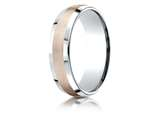 Benchmark® 14k Two-toned 6mm Comfort-fit Satin Finish Beveled Edge Design Band style: CF226031