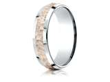 Benchmark® 14k Two-toned 6mm Comfort-fit Hammer Finish Beveled Edge Design Band style: CF226303