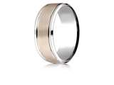 Benchmark® 14k Two-toned 8mm Comfort-fit Drop Bevel Satin Finish Design Band style: CF228010