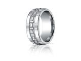Benchmark® Argentium Silver 10mm Comfort-fit High Polished T-pattern Design Band