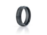 Benchmark Ceramic 7mm Comfort-fit Satin-finished Design Ring