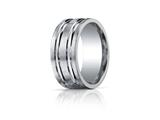 Benchmark Argentium Silver 10mm Comfort-fit High Polished Groove Design Band