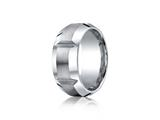 Benchmark® Cobalt Chrome™ 10mm Comfort-fit Satin-finished, High Polished Grooves and Beveled Edge Design Ring