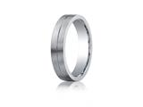 Benchmark Argentium Silver 5mm Comfort-fit Satin-finished Design Band