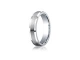 Benchmark® Argentium Silver 5mm Comfort-fit Satin-finished Beveled Edge Design Band