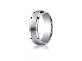 Benchmark® Argentium Silver 7mm Comfort-fit Satin-finished Design Band style: CF67351SV