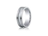 Benchmark® Argentium Silver 7mm Comfort-fit Satin-finished Center Channel Design Band