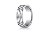 Benchmark® Cobalt Chrome™ 7.0mm Comfort-fit  Satin-finished 4-roll Design Ring