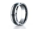 Benchmark 7mm Tungsten Forge Wedding Ring with Seranite Center