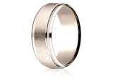 Benchmark® 14 Karat Rose Gold 7mm Comfort-fit Drop Bevel Swirl Finish Center Design Band style: CF6793114KR