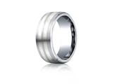 Benchmark Cobalt Chrome- Silver 8mm Comfort-fit Satin-finished Parallel Silver Inlay Design Ring