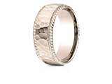 Benchmark® 14k Rose Gold 8mm Comfort-fit Rope Edge Hammered Finish Design Band style: CF6846714KR