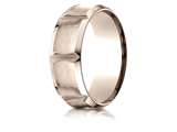 Benchmark® 14k Rose Gold 8mm Comfort-fit Satin-finished Beveled Edge Concave Horizontal Cuts Band style: CF6847914KR