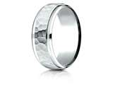 Benchmark® Palladium 8mm Comfort-fit Drop Bevel Hammered Finish Design Band style: CF68490PD