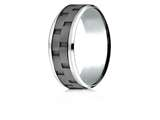Benchmark® 8mm Cobalt Chrome Comfort-Fit Beveled Edge Sandblasted Link Pattern Design Ring style: CF68943CC