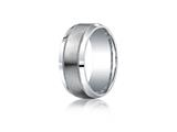Benchmark® Argentium Silver 9mm Comfort-fit Satin-finished Center With Milgrain Design Band